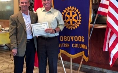 OLWQS receives Certificate of Appreciation from Osoyoos Rotary Club
